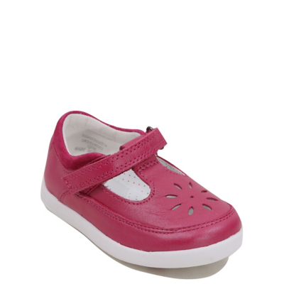 George First Walkers Leather Laser Cut Shoes - Pink.