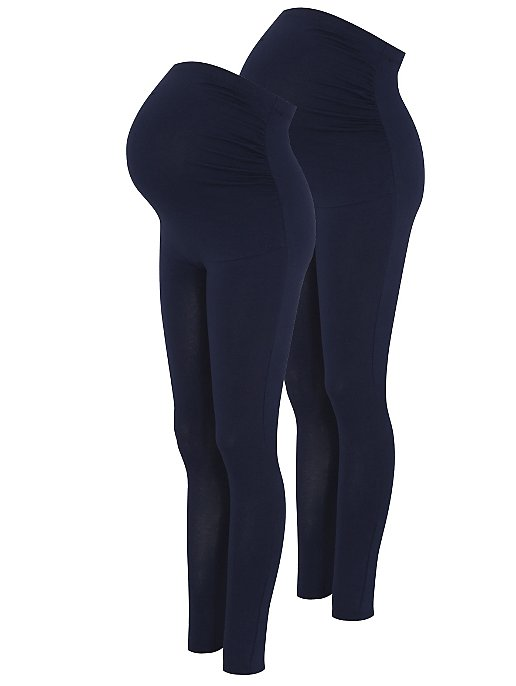 1df91f4b24516 Navy Maternity 2 Pack Over Bump Leggings | Women | George
