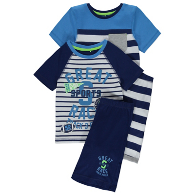 George 2 Pack Assorted Pyjamas - Blue, Blue.