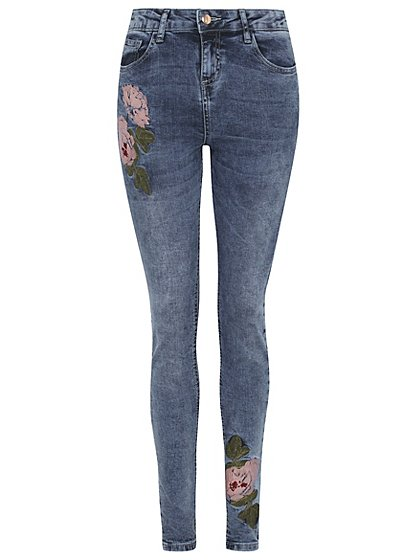 Floral embroidered jeans women george at asda