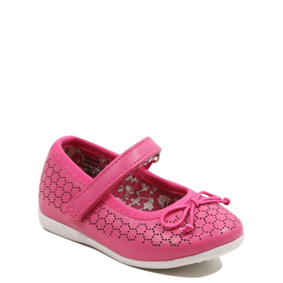 George Bow Adorned Laser Cut Shoes - Pink