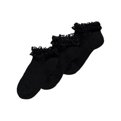 George 3 Pack Frill Trim Trainer Liner Socks - Black, Black.
