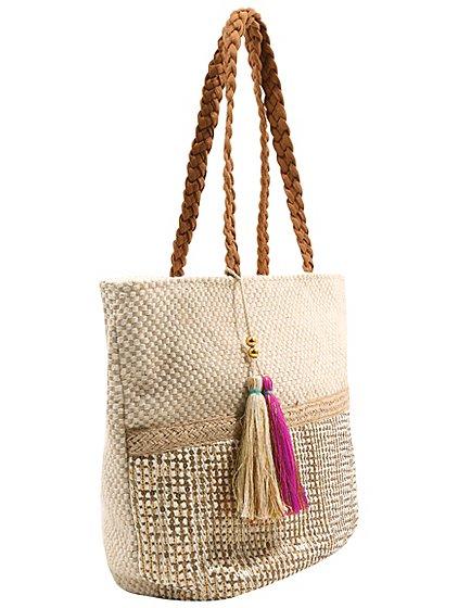 Sequin Tassel Detail Beach Bag | Women | George
