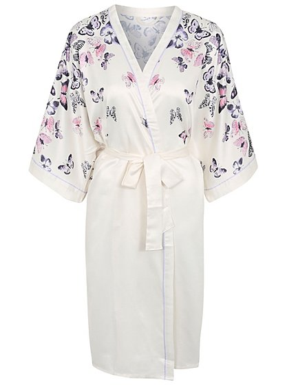 Butterfly Print Satin Dressing Gown Women George At Asda