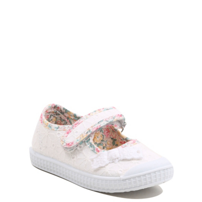 George Floral Embroidered Shoes - White