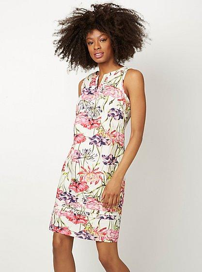 Floral Print Linen Blend Dress Women George