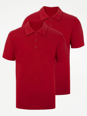 Red School Polo Shirt 2 Pack