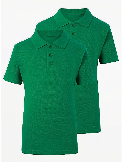 c9b8d0a2bf1e Boys School 2 Pack Polo Shirts - Green | School | George at ASDA