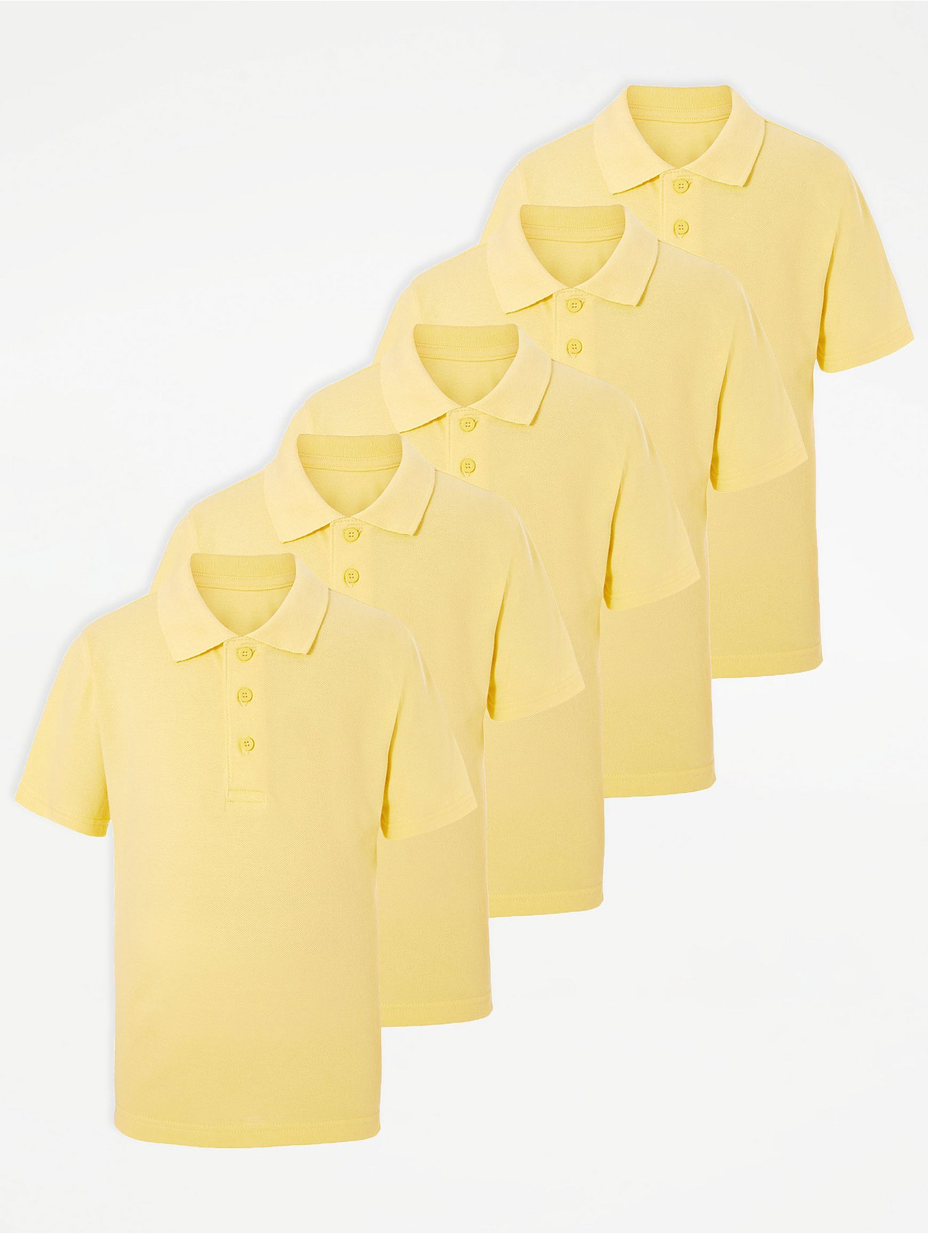 Yellow School Polo Shirt 5 Pack School George