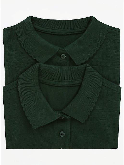 81209c4a99d3 Girls Bottle Green Scallop School Polo Shirt 2 Pack | School | George