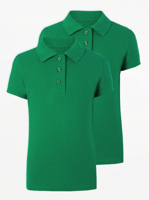 Girls Green Scallop School Polo Shirt 2 Pack