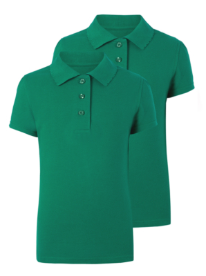 Girls Jade Green Scallop School Polo Shirt 2 Pack
