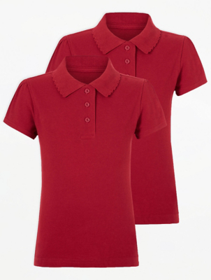 Girls Red Scallop School Polo Shirt 2 Pack