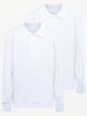 Girls White Long Sleeve Scallop School Polo 2 Pack