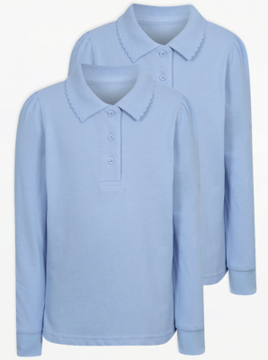 Girls Light Blue Long Sleeve Scallop School Polo Shirt 2 Pack