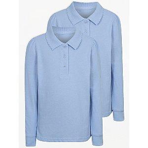 Girls Light Blue Long Sleeve Scallop School Polo Shirt 2 Pack