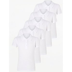 Girls White Scallop School Polo Shirt 5 Pack