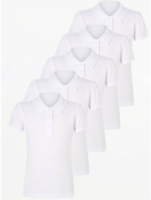 New Girls Light Blue Scallop School Polo Shirt 5 Pack Unique