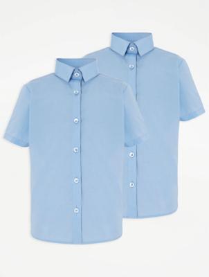 Girls Light Blue School Short Sleeve Shirt 2 Pack