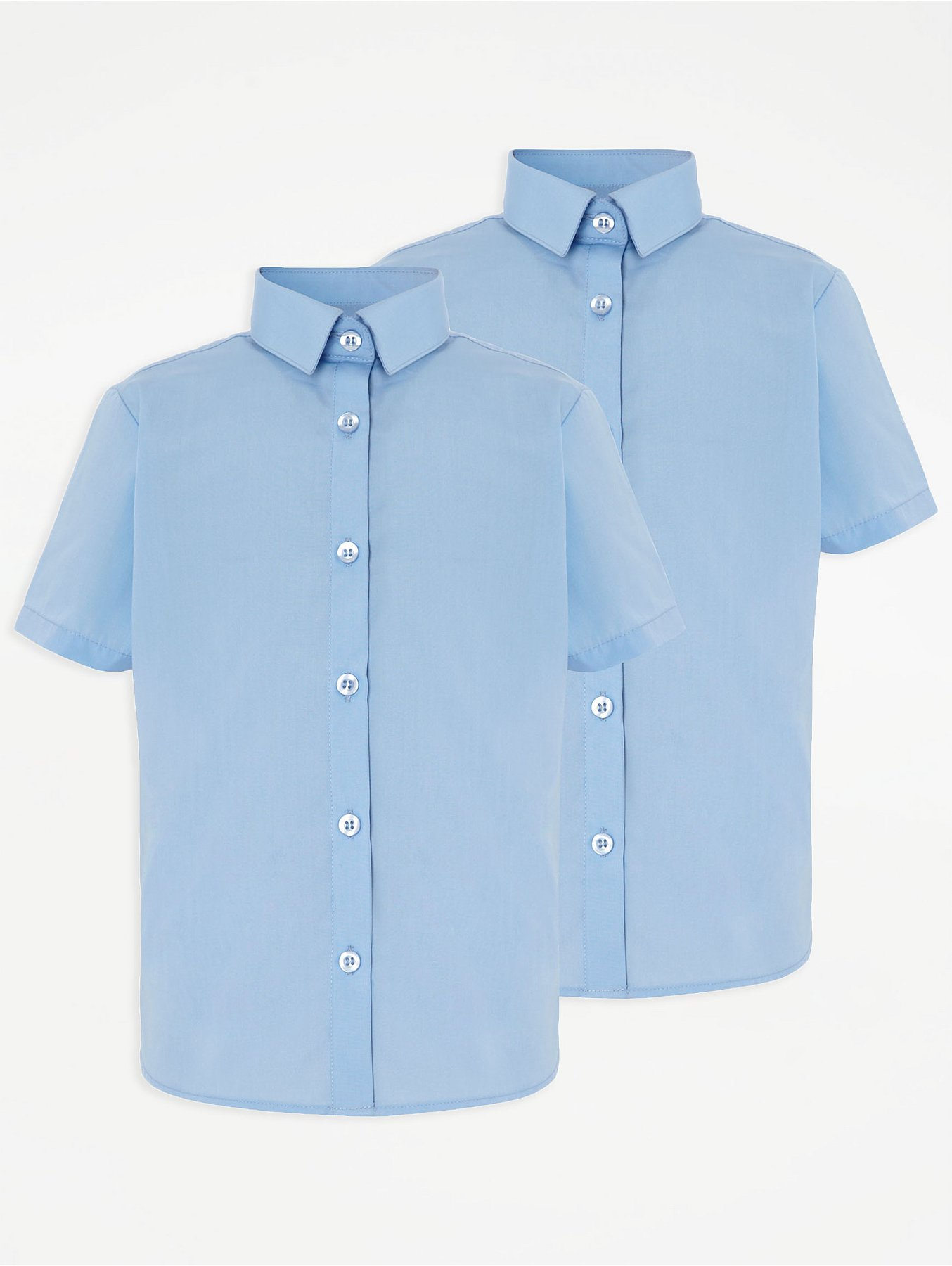 Girls Light Blue School Short Sleeve Shirt 2 Pack School George