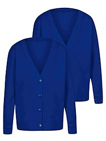 ec921a6cac8 Girls Cobalt Blue Jersey School Cardigan 2 Pack