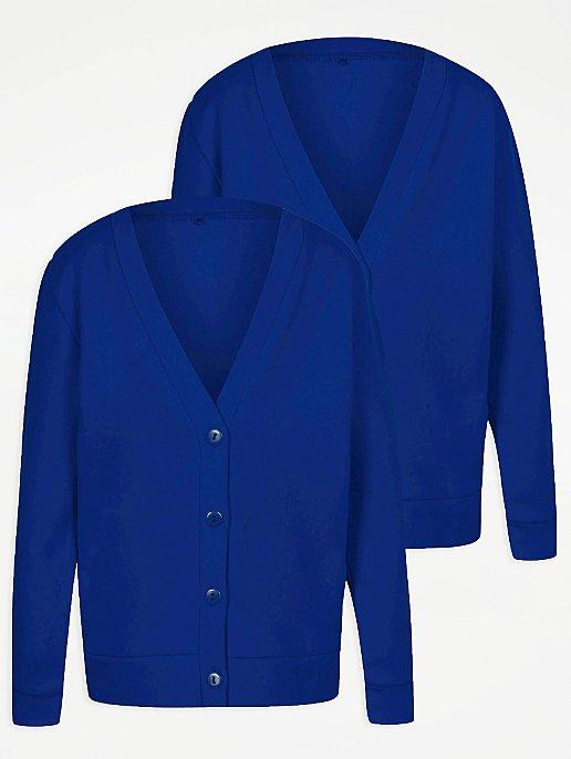 Girls Cobalt Blue School Cardigan 2 Pack