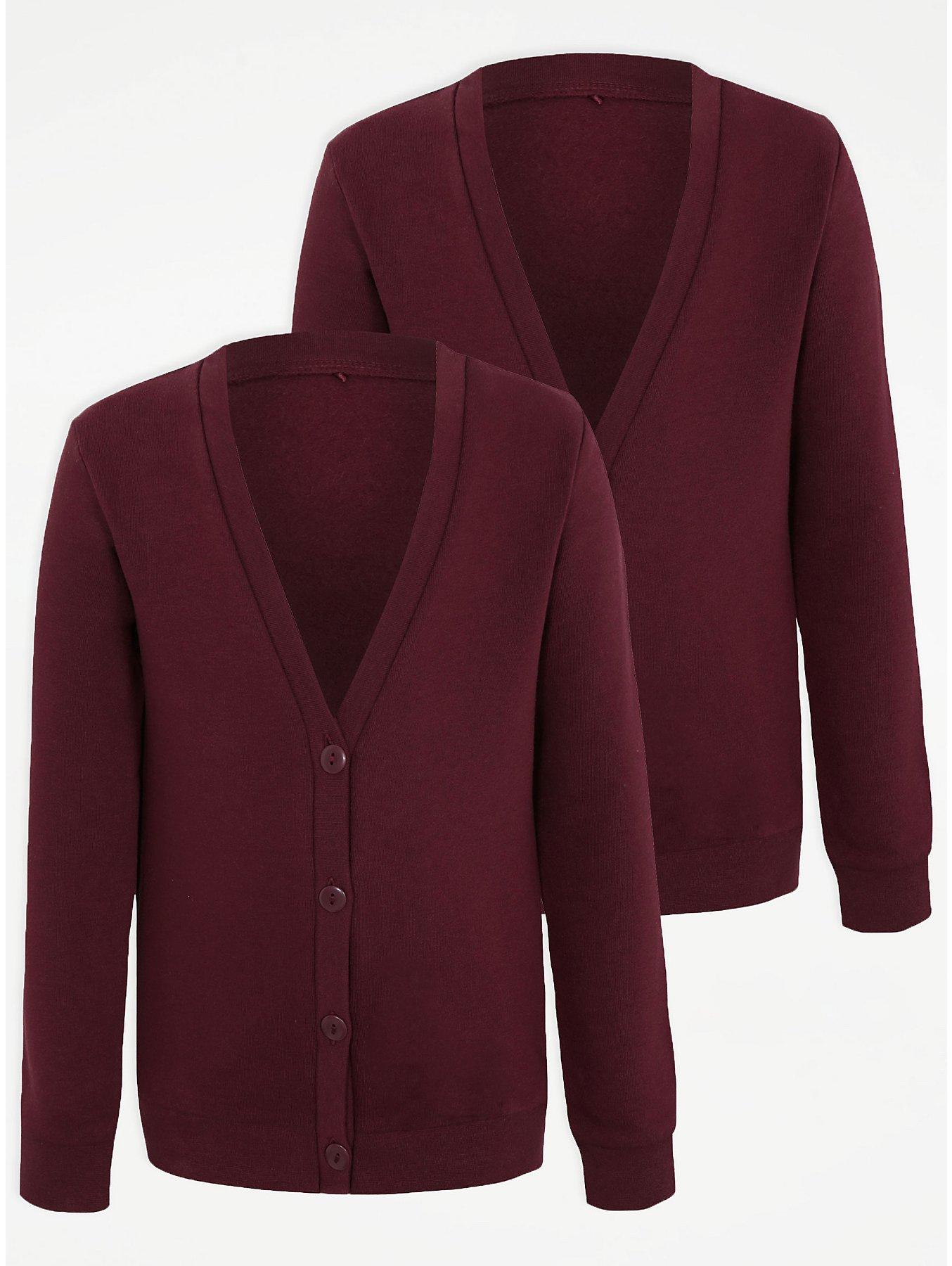 Girls Burgundy Jersey School Cardigan 2 Pack. Reset 96a73dcc5