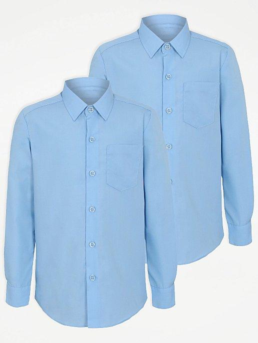 ff20de0ba432 Boys Light Blue Long Sleeve School Shirt 2 Pack