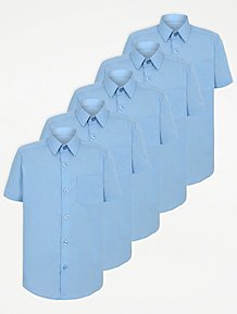 884b065bfdc Boys Light Blue Short Sleeve School Shirt 5 Pack