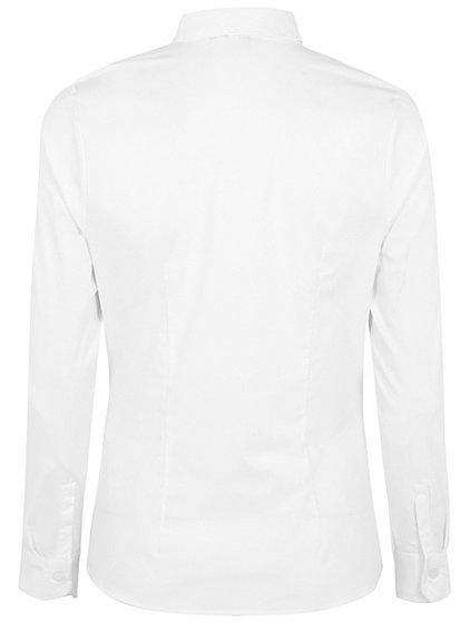 Girls White School Stretch Long Sleeve Shirt School George