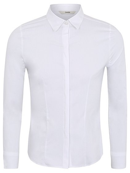 Girls School Stretch Long Sleeve Shirt White School