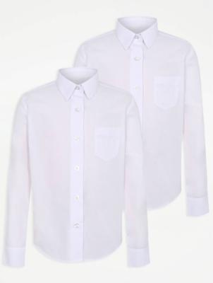 Girls White Slim Fit Long Sleeve School Shirt 2 Pack