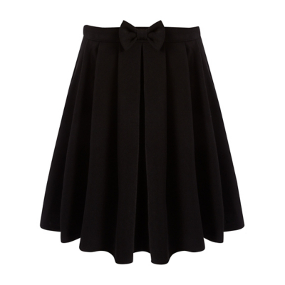 George Girls School Bow Detail Skater Skirt - Black, Black.