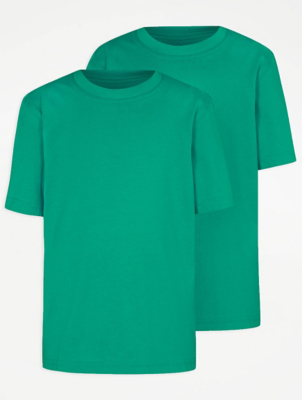 Jade Green Crew Neck School T-Shirt 2 Pack