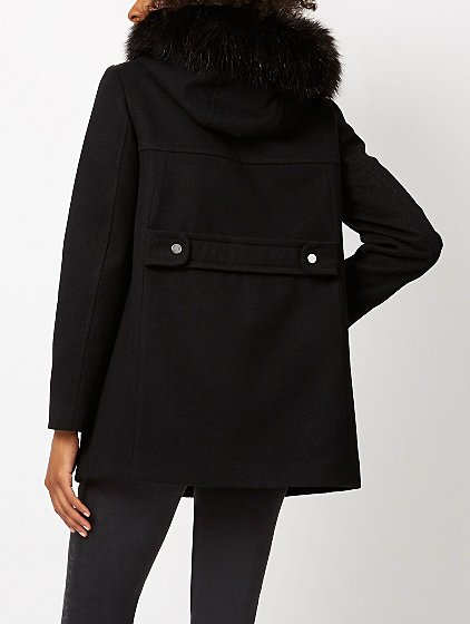 Faux Fur Hooded Duffle Coat - Black | Women | George