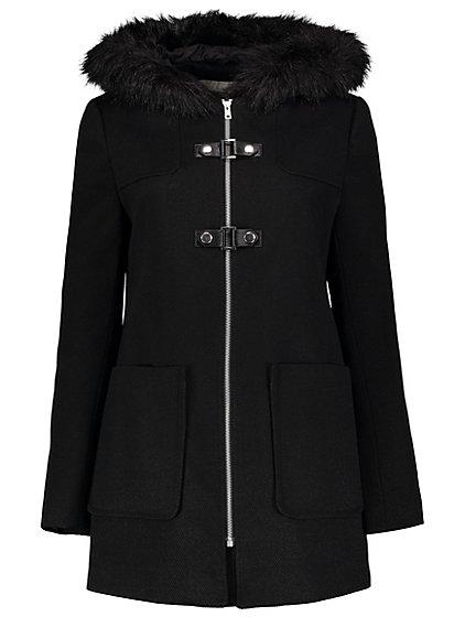 Faux Fur Hooded Duffle Coat - Black | Women | George