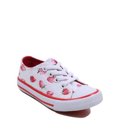 George Strawberry Print Canvas Trainers - White.