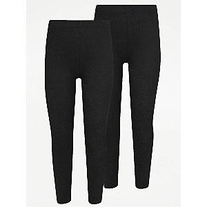 Girls Black School Leggings 2 Pack
