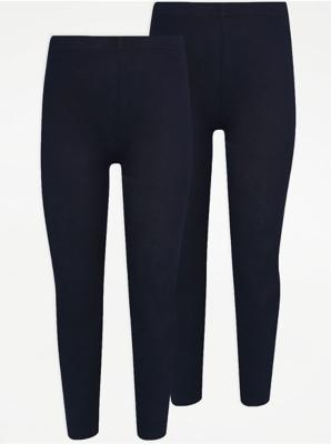 Girls Navy School Leggings 2 Pack