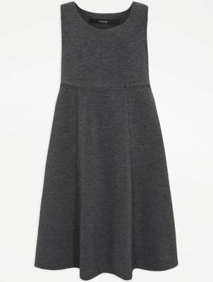 Girls Grey Jersey Empire Line School Pinafore Dress
