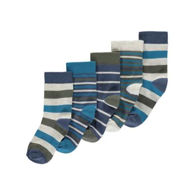 George 5 Pack Striped Ankle Socks - Multi, Multi.