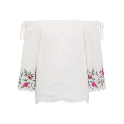 George Embroidered Bardot Top - Cream, Cream.