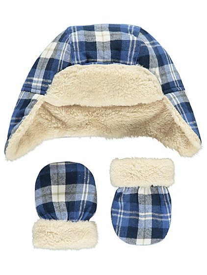 Check Print Trapper Hat And Mittens Set Baby George