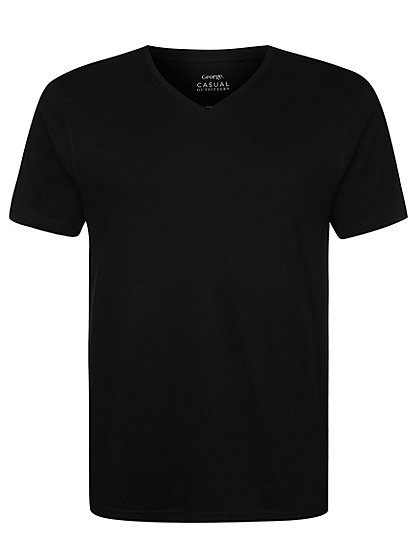 v neck t shirt black men george at asda