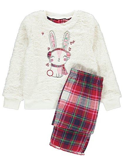 Baby Gift Set Asda : Fleece bunny rabbit pyjamas gift set kids george