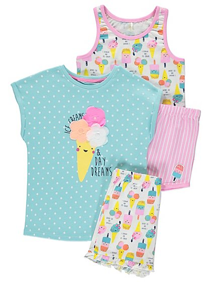 2 pack ice cream print pyjamas kids george at asda. Black Bedroom Furniture Sets. Home Design Ideas