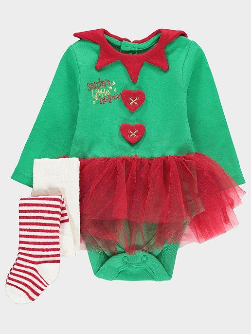 717c337238 Santa s Little Helper Tutu Bodysuit and Tights Set. Reset