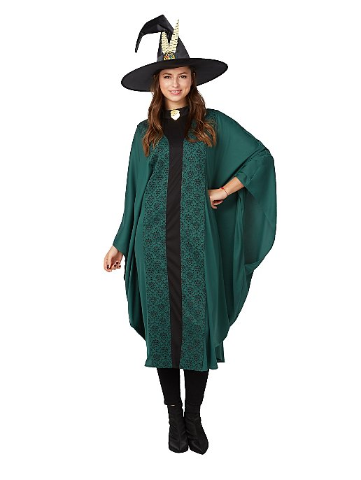 Woman dressed in Professor McGonagall cloak and hat