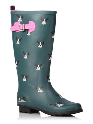 French Bulldog Print Wellington Boots Women George
