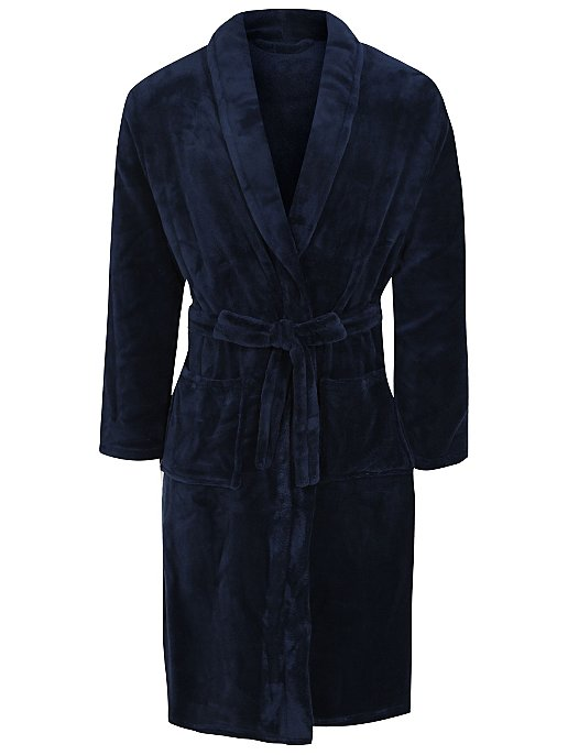Navy Fleece Dressing Gown. Reset 3fd05aba4937